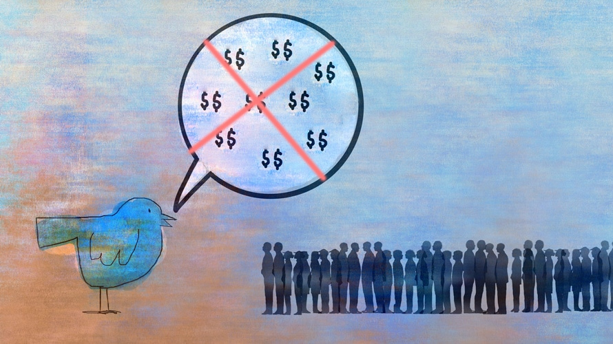Image of red X over a speech bubble with dollar signs on it next to a blue bird and a crowd of people