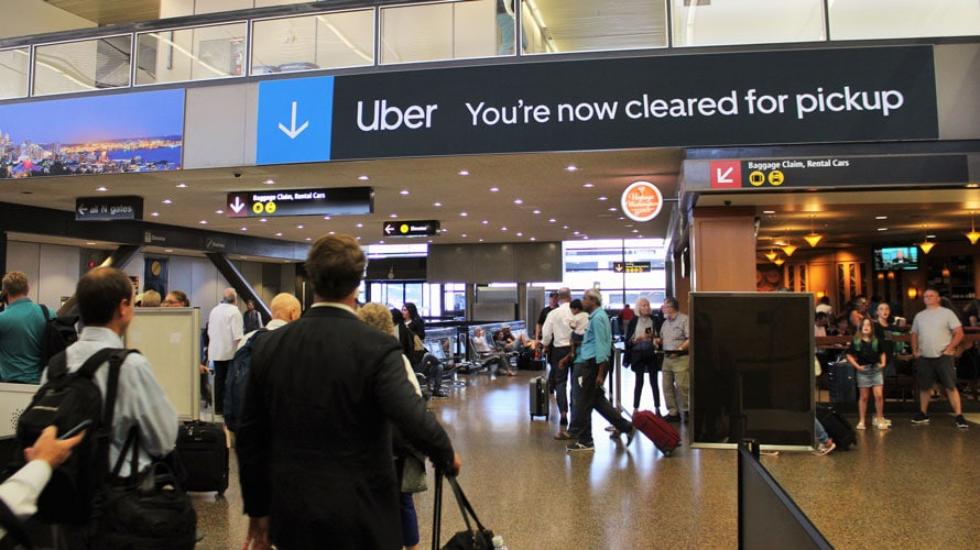 uber signs at seattle-tacoma international airport