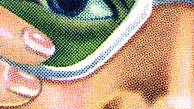 a pixelated closeup of a woman with sunglasses on