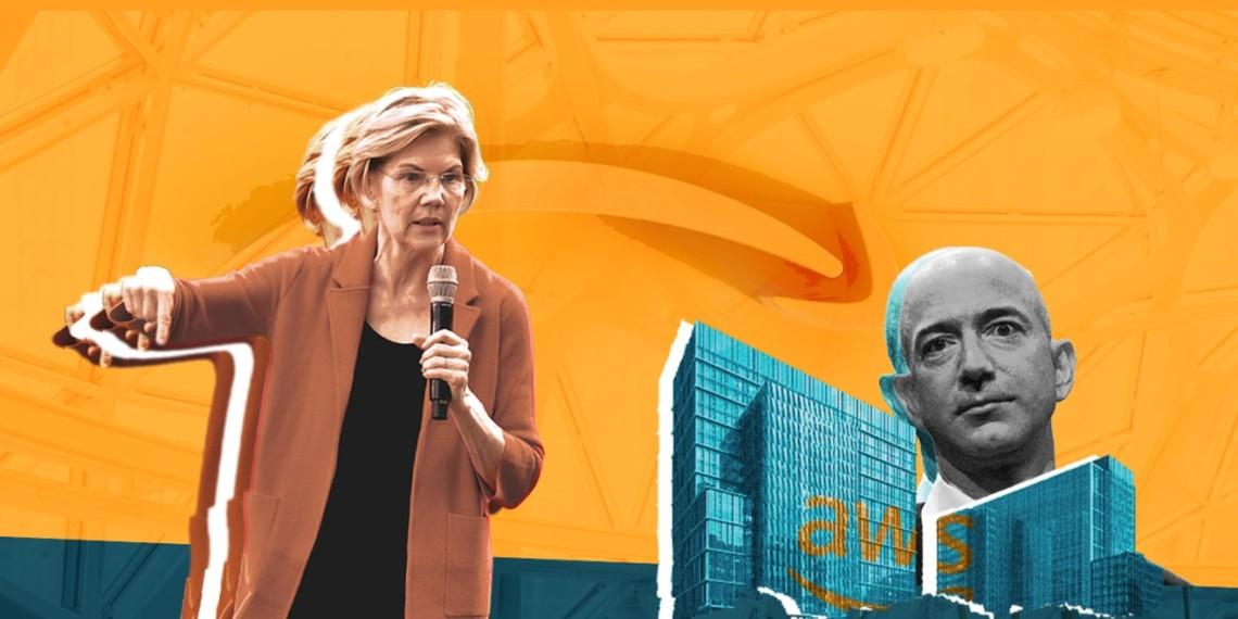 Elizabeth Warren, Jeff Bezos and Amazon-related imagery