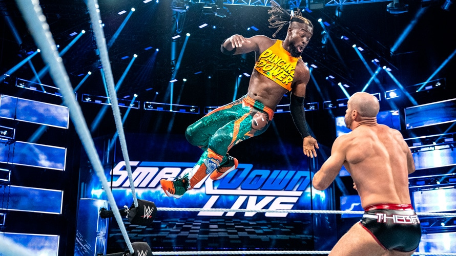 Two wrestlers fighting during an episode of SmackDown Live