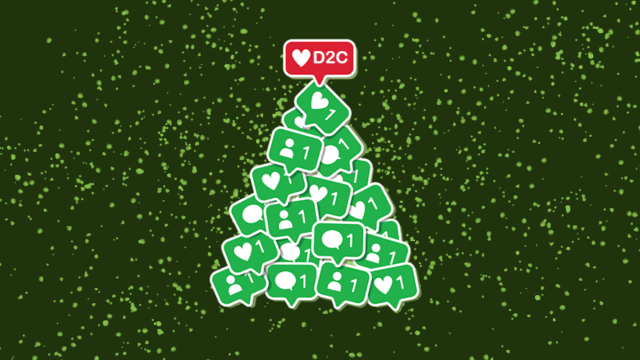 """A bunch of comments and follows in green stacked like a try with a red heart that says """"DTC"""" at the top"""