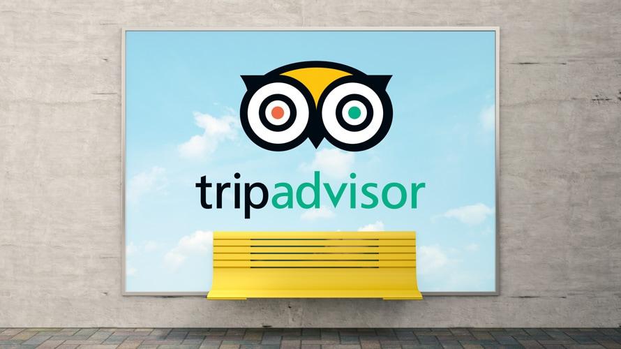 TripAdvisor logo on an ad