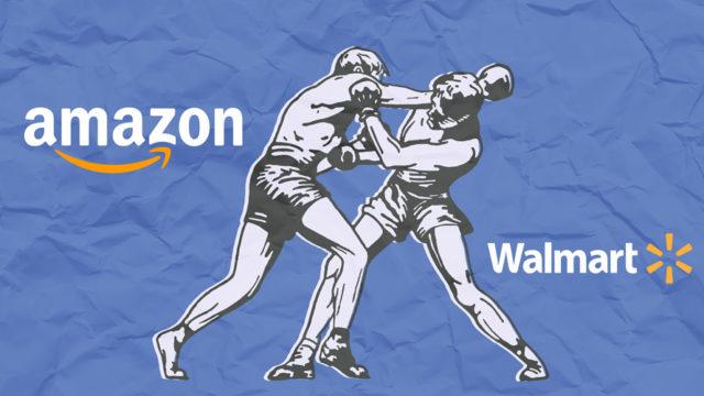 Amazon logo, illustration of two people boxing and Walmart logo