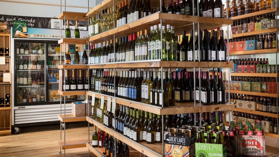 shelves full of wine bottles