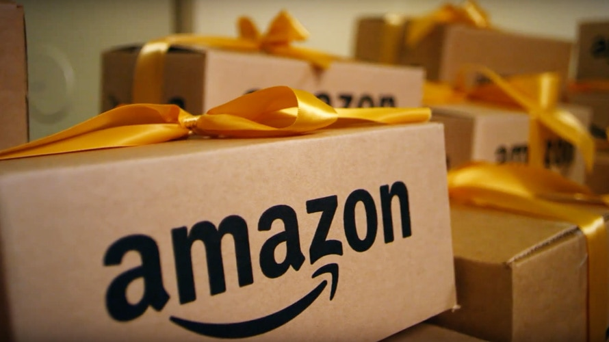 Amazon boxes with yellow ribbons