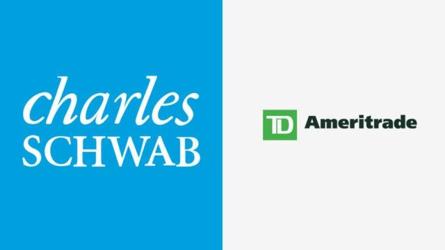 Charles Schwab logo and TD Ameritrade logo