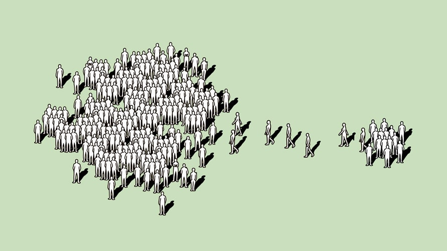 Illustration of a group of people being joined by a smaller group