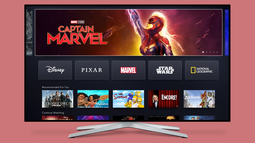 the home screen of the disney+ streaming service