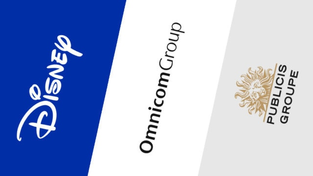 Logos of Disney, Omnicom Group, and Publicis Groupe