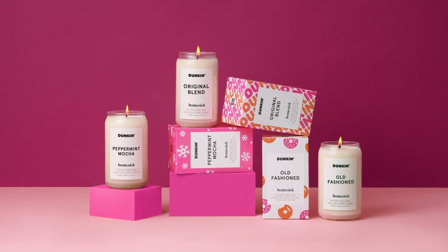 Studio product shot of Dunkin's candle collection
