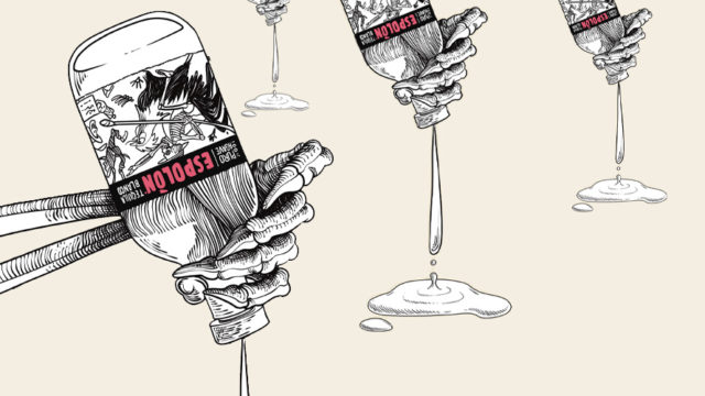 skeleton hands holding espolon tequila bottles