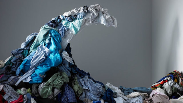 Clothes arranged together to look like a wave