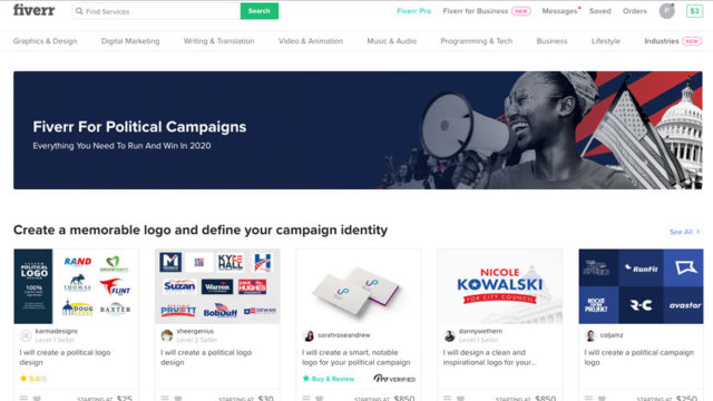 screenshot of fiverr's freelance marketplace for political gigis