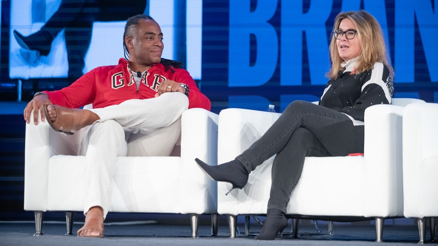 Adweek's Danny Wright and Gap's Alegra O'hare at Brandweek 2019