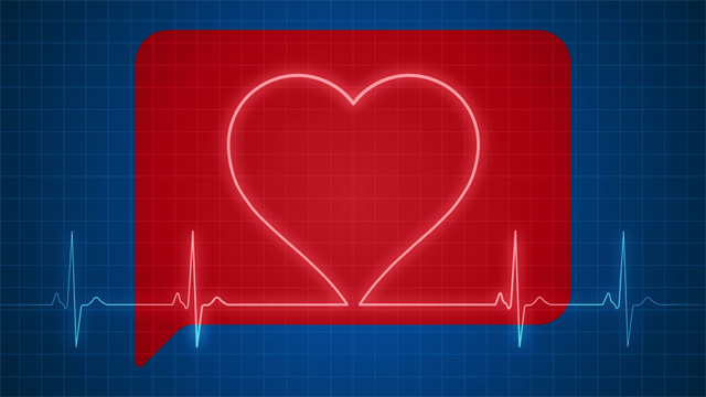 gif of a heart monitor going across a red text messaging box