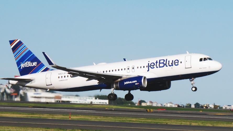 JetBlue plane taking off