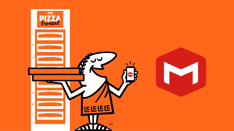 Little Caesars mascot holding pizza boxes and a phone with McKinney logo
