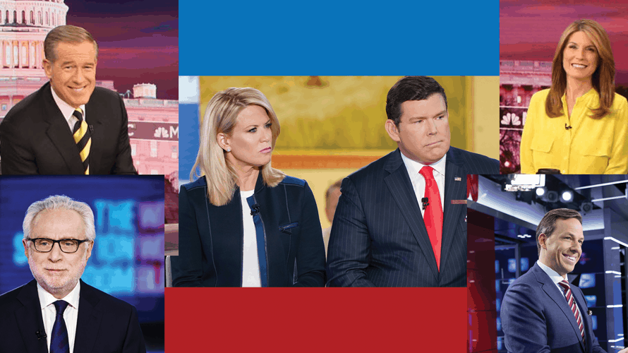 Mashup of anchor photos from CNN, MSNBC and Fox News Channel