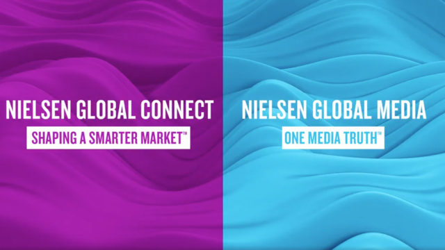 split screen of nielsen's two new companies, global connect and global media