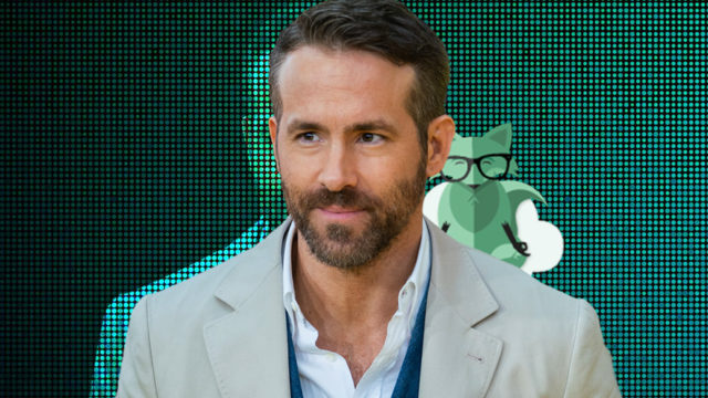 Portrait of Ryan Reynolds with Mint Mobile mascot over his shoulder