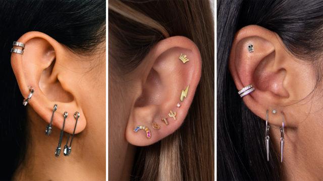 A triptych of pierced ears