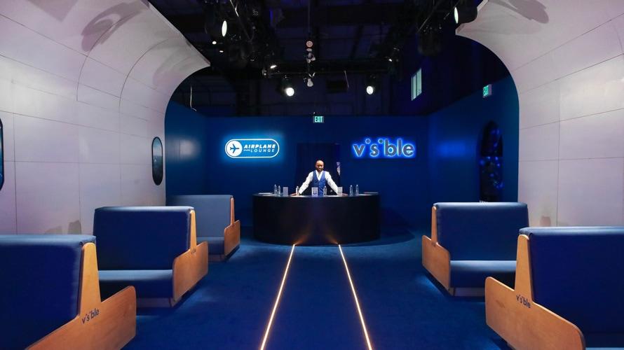 Visible airplane lounge