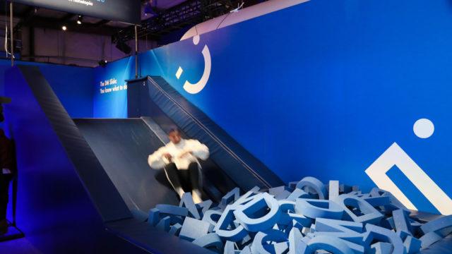 Person sliding into a foampit