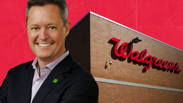 Patrick McLean headshot and Walgreens store logo on red background