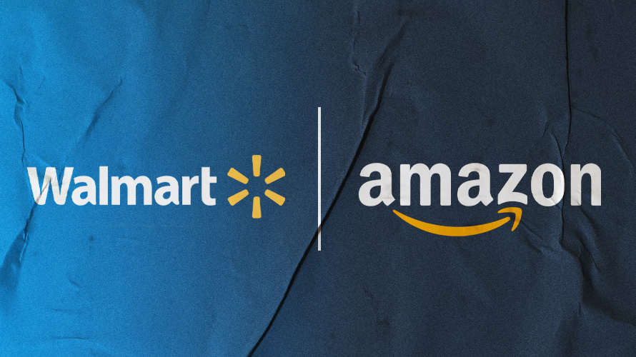 Walmart and amazon on a glued texture poster