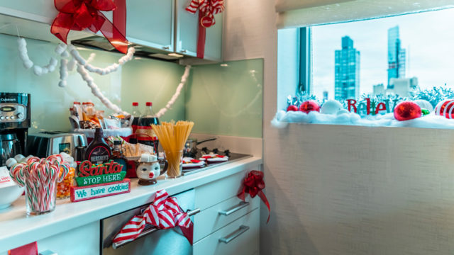 Kitchen with spaghetti, candies, and christmas decorations