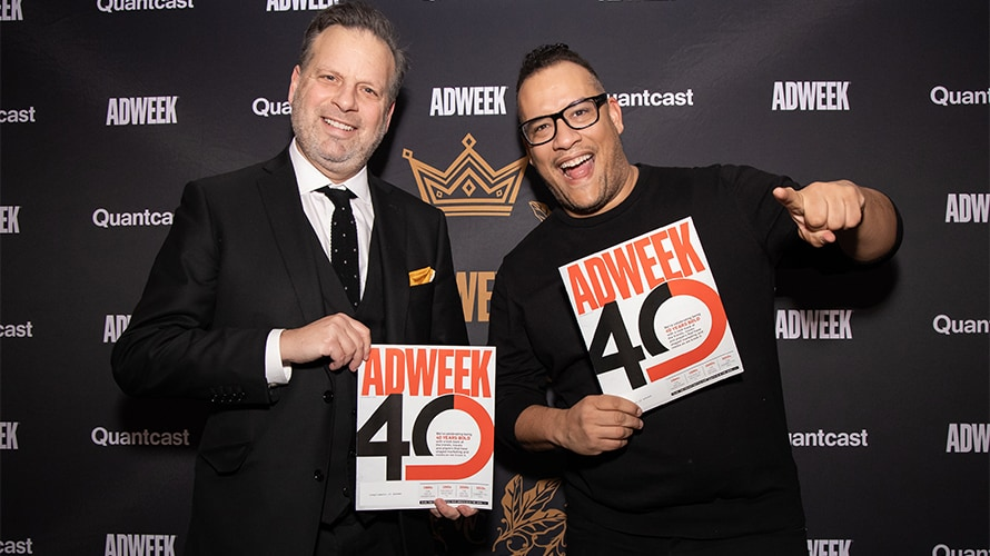 TBWA\Chiat\Day's Rob Schwartz, CEO, New York, and Doug Melville, chief diversity officer, North America, show off Adweek's 40th anniversary issue.