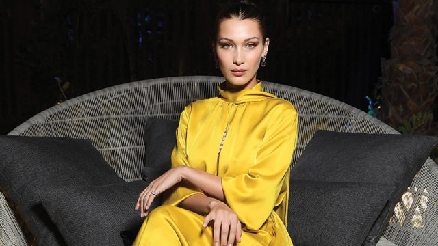 photo of bella hadid in a yellow dress
