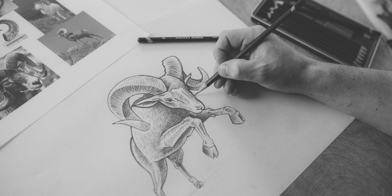 someone hand-drawing a ram
