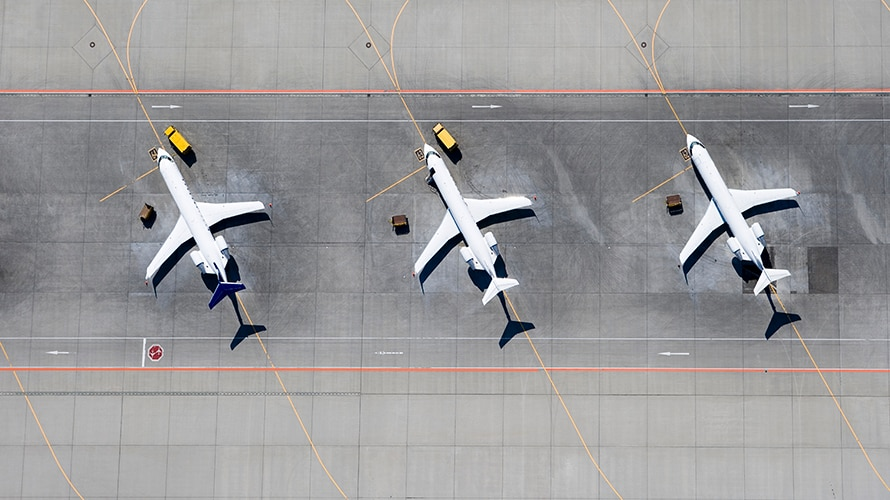 a line of three airplanes