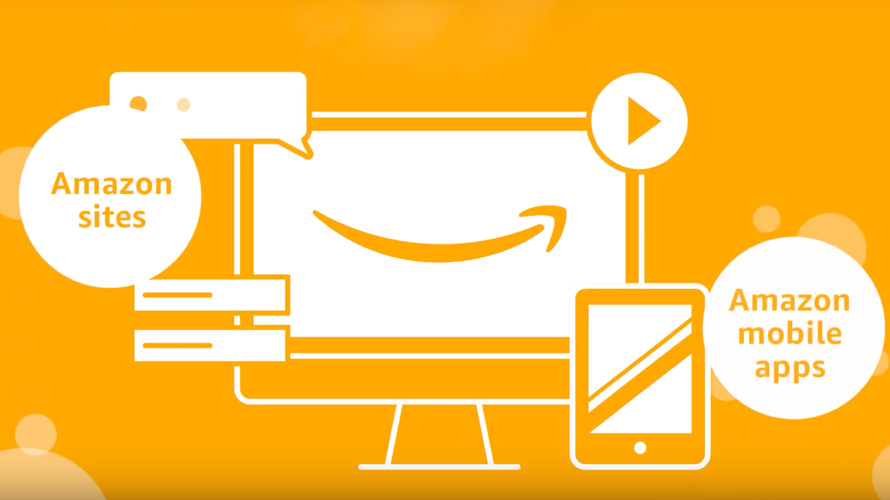 Computer screen with amazon check mark logo, text bubbles, playback button, and ipad