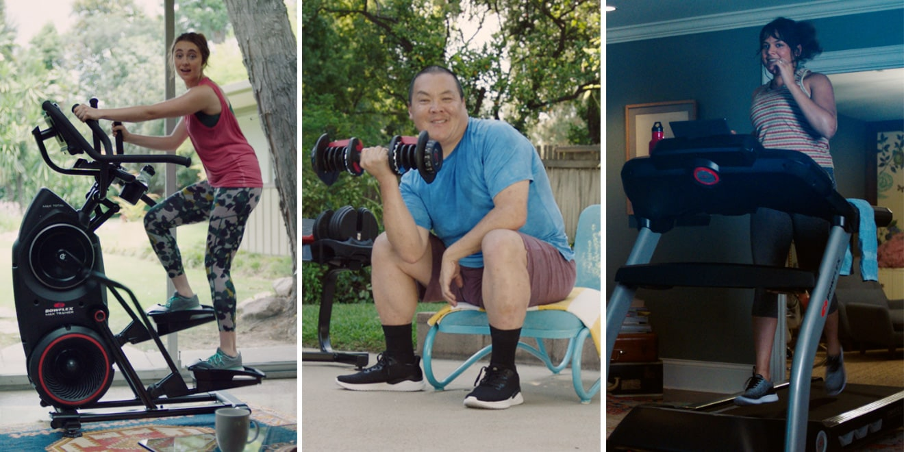 Collage of stills from bowflex ad