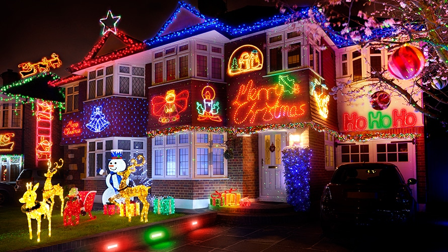 a house decked out in christmas lights