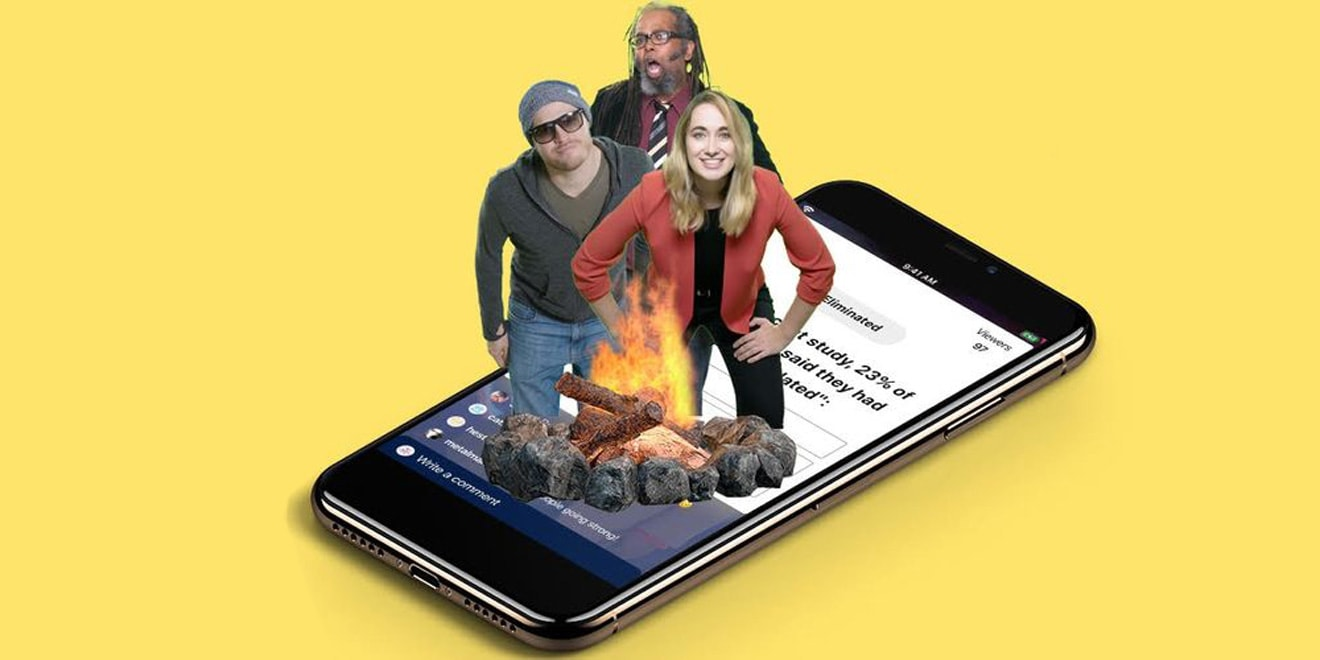 Photo illustration of 3 people and a bonfire on top of a phone screen