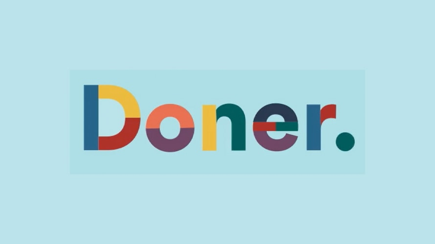 logo from doner in rainbow colors