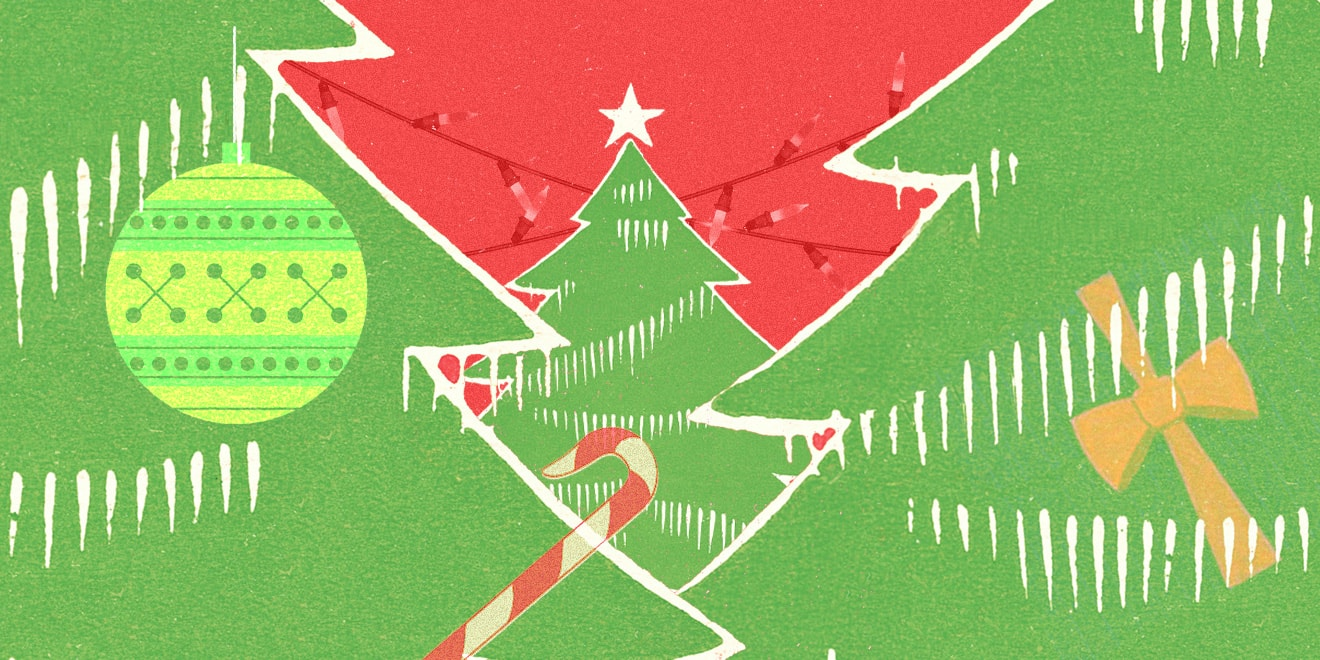 Christmas trees with ornaments and candy canes