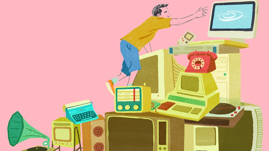 Illustration of man climbing through old piles of technology to reach a modern monitor