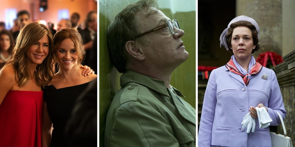stills from the morning show, chernobyl and the crown