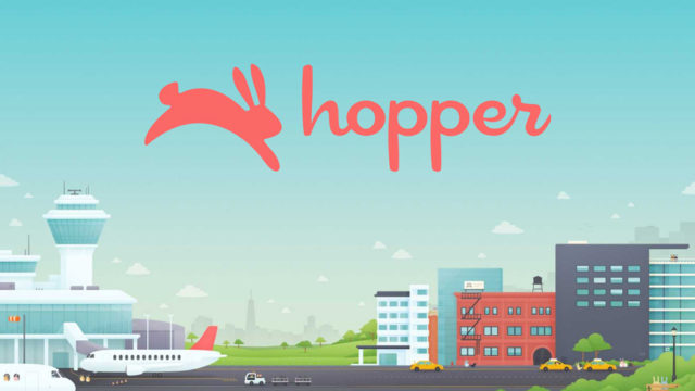 Hopper logo and illustration of airport with planes, taxis, and buildings