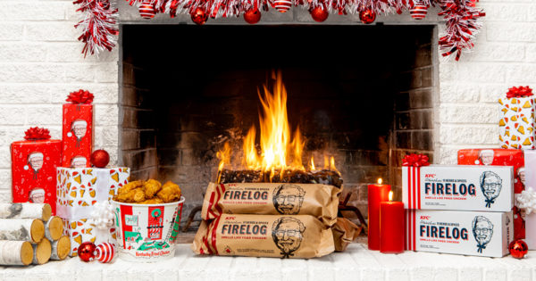 KFC Wants Its Fried Chicken-Scented Firelogs to Be Your New Holiday Tradition
