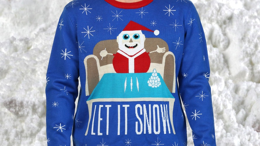 an ugly christmas sweater featuring santa sitting down to do three lines of cocaine