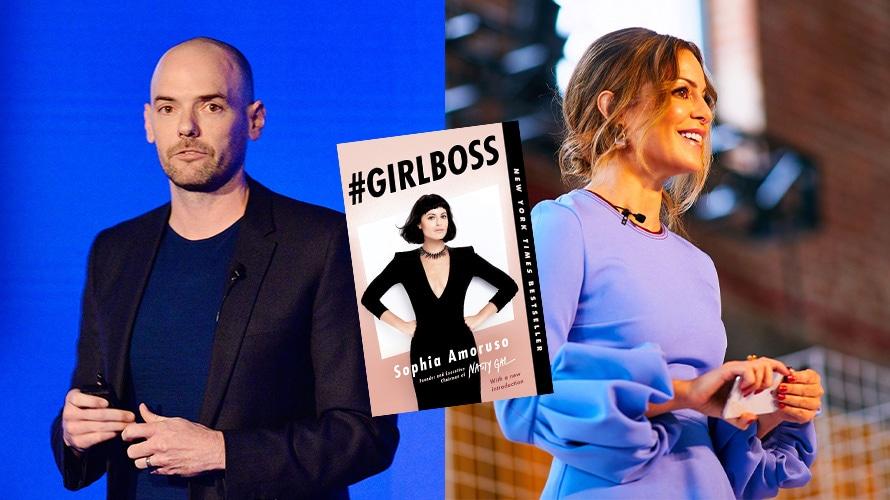 Joe Marchese, Girlboss book cover, and Sophia Amoruso