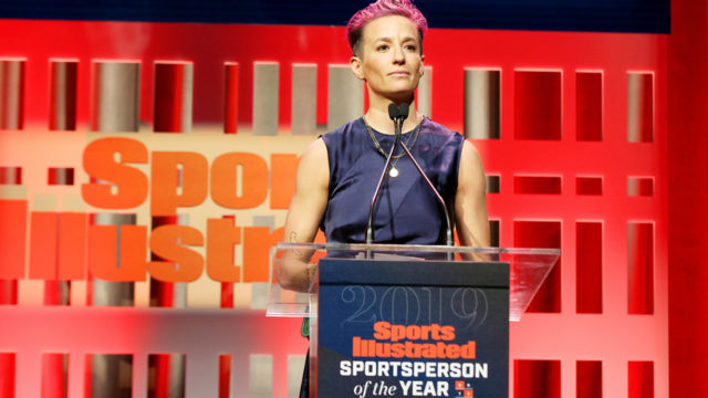 Megan Rapinoe at Sports Illustrated's Sportsperson of the year stage