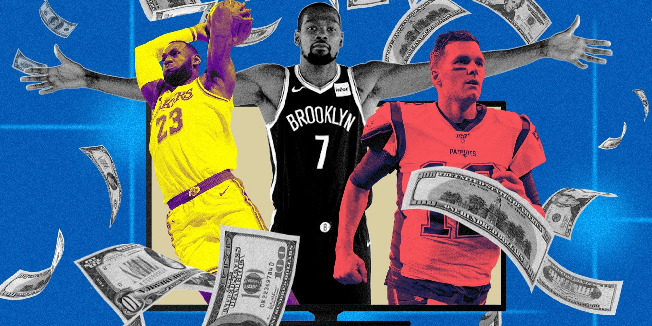 Athletes, LeBron James, Kevin Durant, and Tom Brady on TV surrounded by falling money