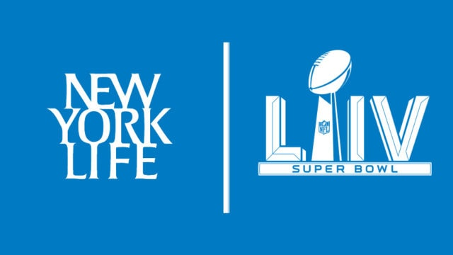 logos of new york life and the super bowl 54 next to each other